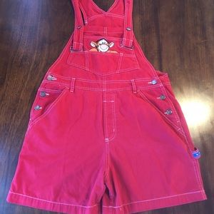 Vintage 90s Red Tigger Pooh Overalls Small Shorts